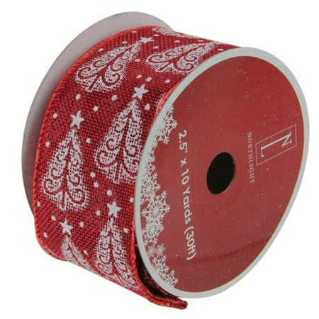 Cranberry Red and White Trees Burlap Wired Christmas Craft Ribbon 2.5