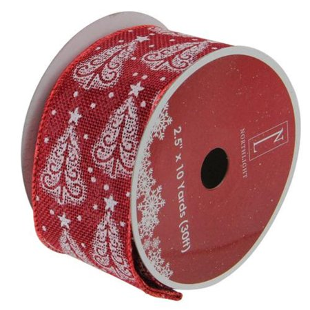 Cranberry Trees Burlap Wired X-mas Craft Ribbon