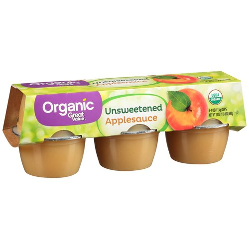 Great Value Organic Unsweetened Applesauce Cups, 6 Count