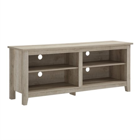 58 inch Wood TV Media Stand Storage Console in White Oak - 5 8 Size 16