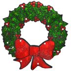 "15"" Lighted Double-Sided Shimmering Christmas Wreath Window Silhouette"