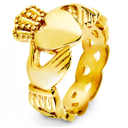 Crucible Gold-Plated Stainless Steel Claddagh Ring with Celtic Knot Eternity Design