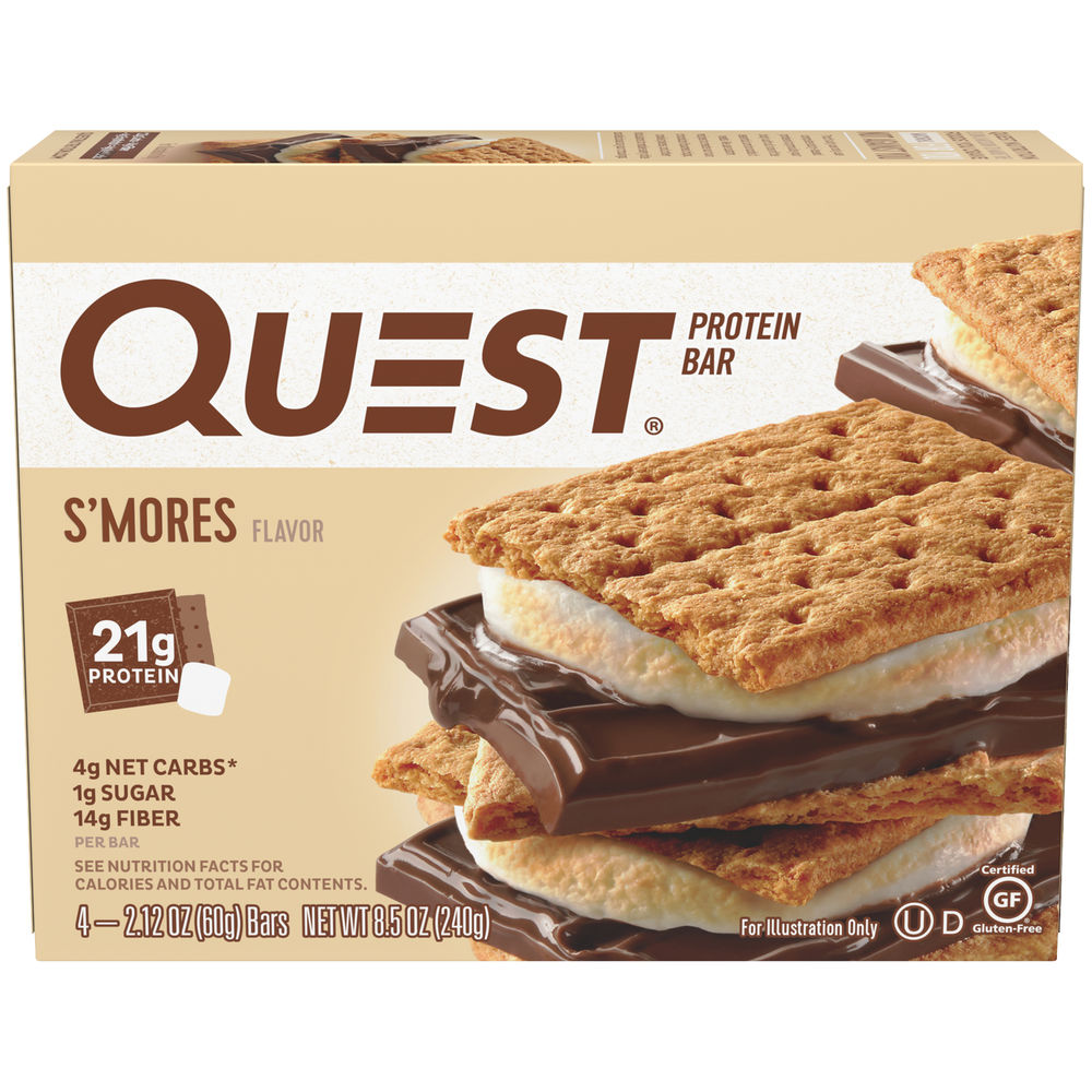 Quest Protein Bar, S'mores, 20g Protein, 4 Ct
