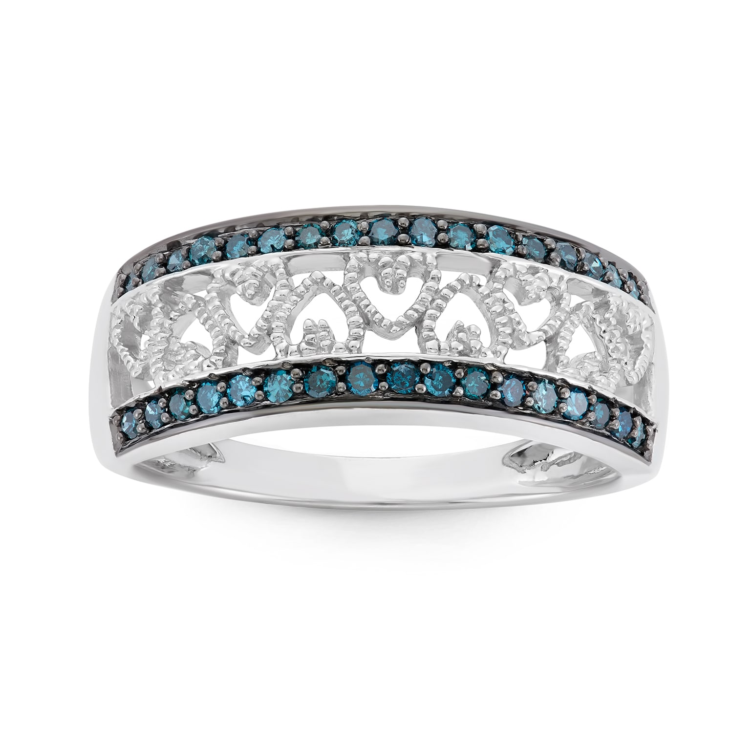 Hetal Diamonds Inc Rhodium-plated Sterling Silver 1/4ct TDW Blue Diamond Heart Ring