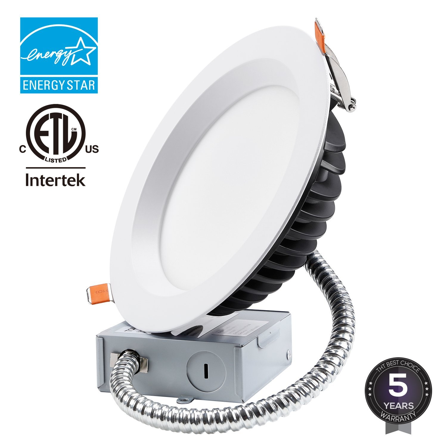 TORCHSTAR 18W 6 inch Slim Recessed Ceiling Light with Junction Box, Dimmable Airtight Downlight, 1500lm Ultra Bright 150W Equivalent ETL Listed and Energy Star Certified, 3000K Warm White