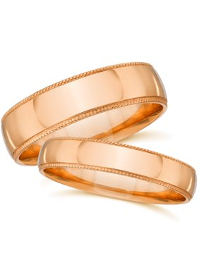 product image rose gold his hers matching wedding bands plain polished milgrain rings 14k