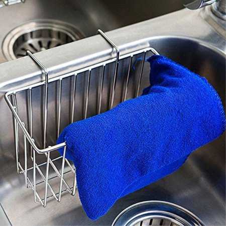 Kitchen Sink Caddy Sponge Holder Slim Organization Basket For Accessories Sponges Dish Brushes Stainless Steel 1
