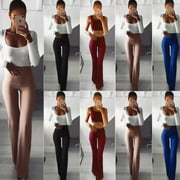 Fashion New Plus Size Women Solid Color High Waist Wide Leg Flared Office Ladies Pants Stretch OL Trousers