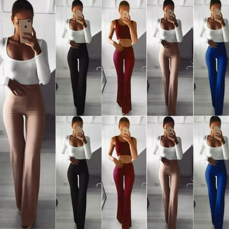 Fashion New Plus Size Women Solid Color High Waist Wide Leg Flared Office Ladies Pants Stretch OL Trousers - image 1 de 5