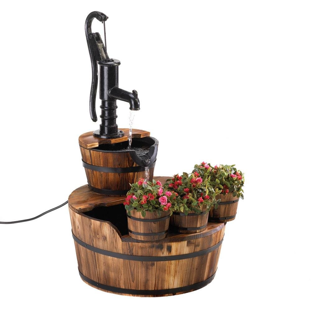 Fountains, Wood Rustic Backyard Electric Fountain Decor B...