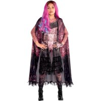 Party City Descendants 3 Audrey Cape for Children, One Size, Features a Black Background with Pink Accents and Lapels