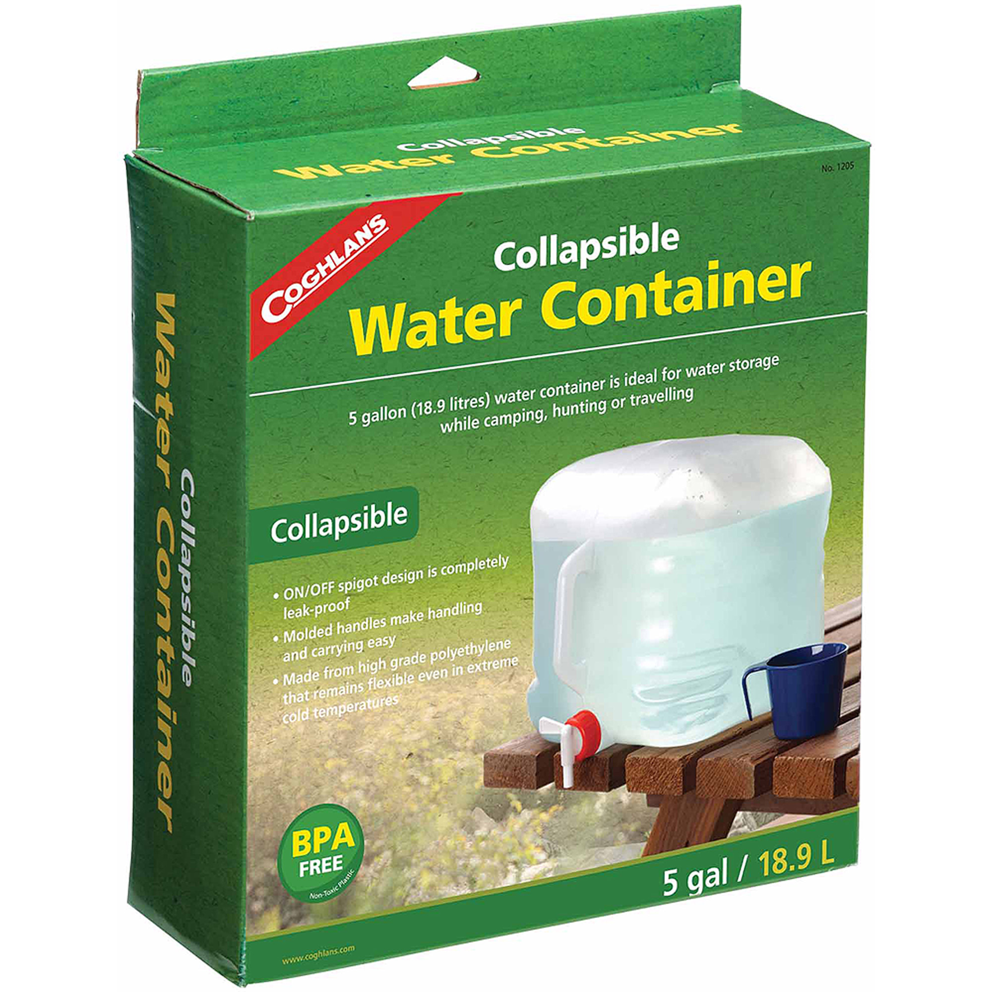 Coghlan's 1205 Collapsible Water Container, 5 Gal