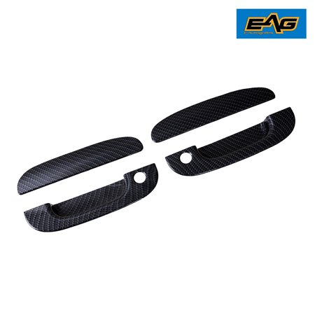EAG Black Carbon Fiber Look ABS 2 Door Handle Cover With Keyhole for 94-01 Dodge Ram