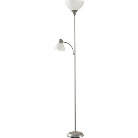 Mainstays silver floor lamp with reading light and cfl for Mainstays silver floor lamp