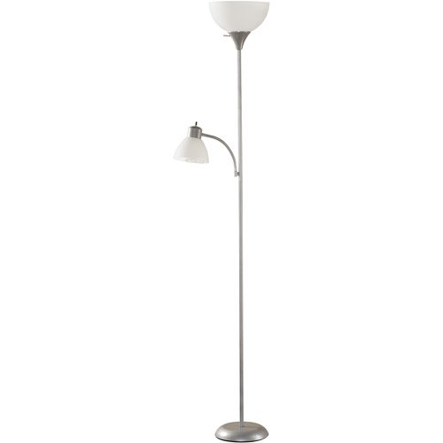 Mainstays silver floor lamp with reading light and cfl bulbs hw mainstays silver floor lamp with reading light and cfl bulbs hw f1219slv ca walmart aloadofball Image collections