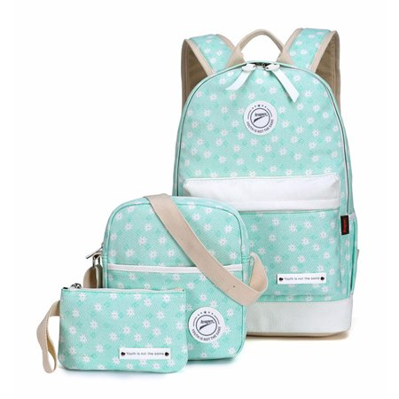 a50eb014a290 Smarit - Set 3 Floral Canvas Backpack Casual Bookbags School Backpacks Bags  Shoulder Wallet Bag for Girl - Walmart.com