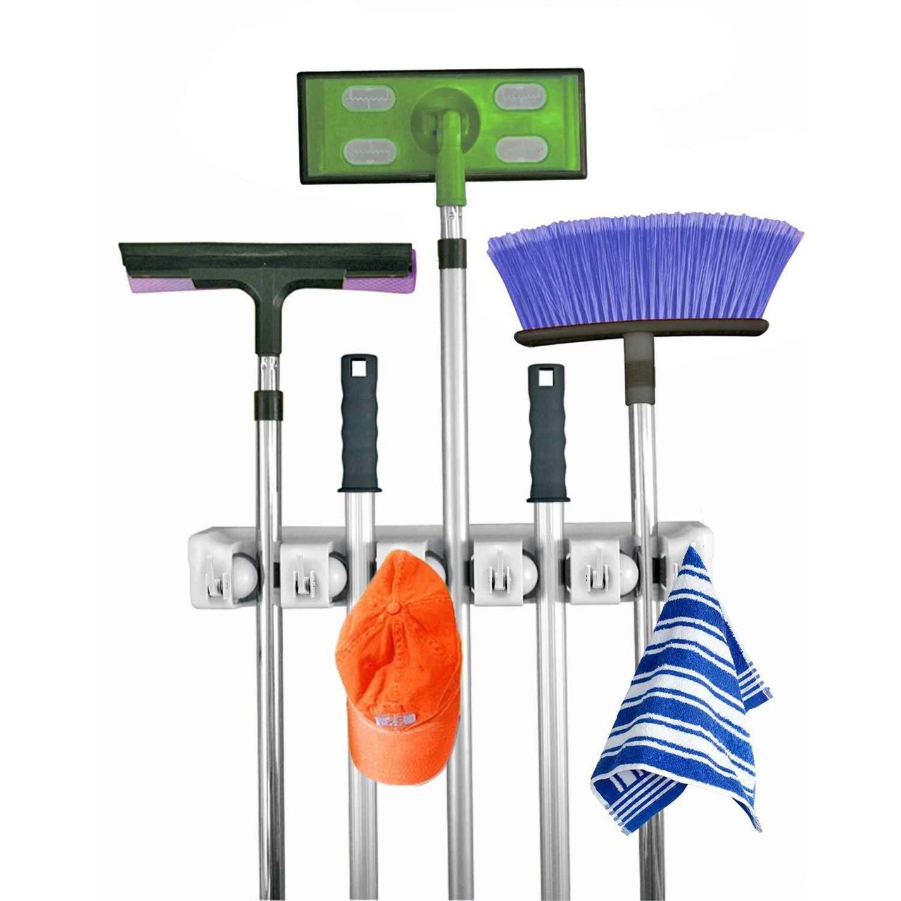 Mop And Broom Holder, 5 Position With 6 Hooks Garage Storage Holds Up To 11