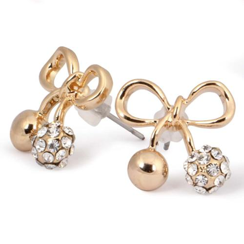 BMC Womens Gold Colored Alloy Bows with Ornate Ball Tails Fashion Stud Earrings