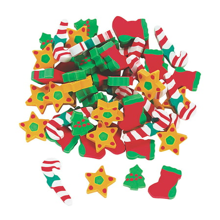 Fun Express - Holiday Erasers (5dz) for Christmas - Stationery - Pencil Accessories - Erasers - Christmas - 60 Pieces