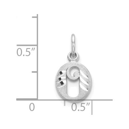 14k or blanc diamant-coupe initiale O (8to10x17mm) Pendentif / Breloque - image 1 de 2