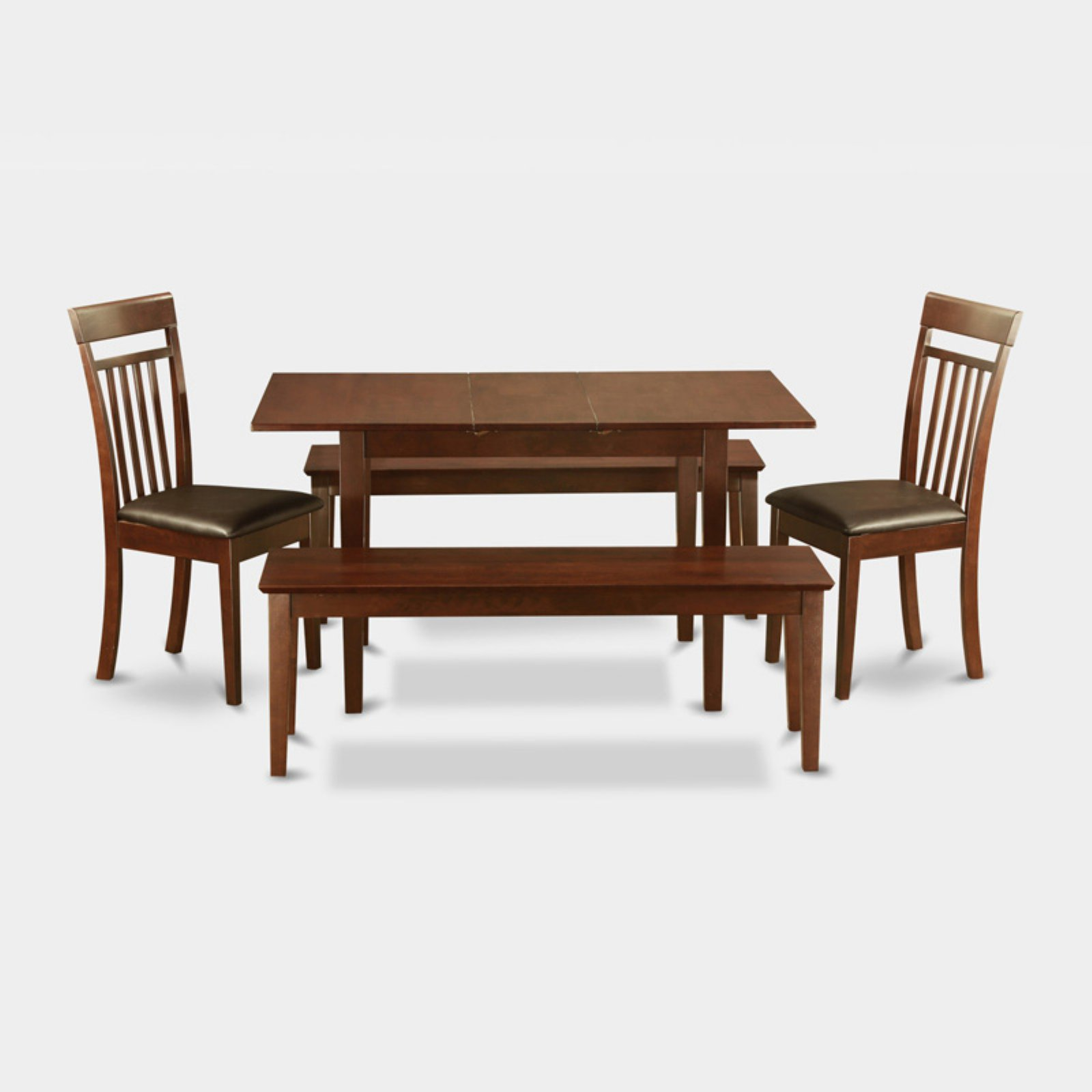 East West Furniture Norfolk 5 Piece Sheraton Dining Table Set with 2 Benches