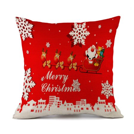 Hot Sale Merry Christmas Home Shops Sofa Bed Car Seat Linen Printed Square Pillow Case Decorative Cushion Cover Xmas Home Festival Decoration