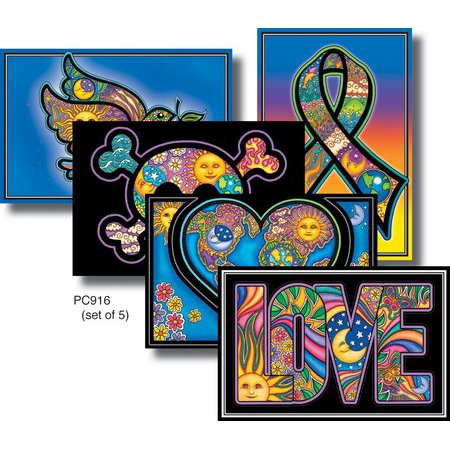 5 x Ultimate Dan Morris Newest CELESTIAL Colorful Designs, Collectible Mailable Frame-able Postcard Pack - 4