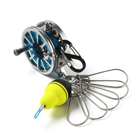 Live Fish Lock Buckle with Reel and Float Stainless Steel 5 Snaps Fishing Stringer Clips
