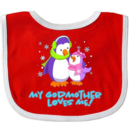 Inktastic My Godmother Loves Me! Cute Penguins Baby Bib Family Winter Goddaughter Hat Scarf Earmuffs Snowflake Hugs Cuddly Adorable Gift Clothing Infant