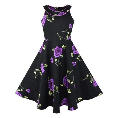 Girls dress black and purple flower halter dress 12 walmart mightylinksfo