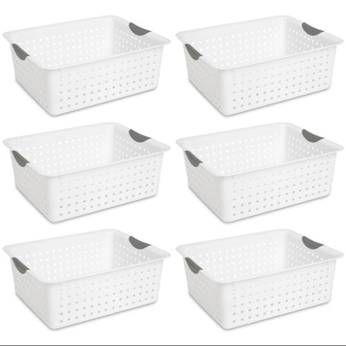 6) Sterilite 16268006 Large Ultra Plastic Storage Bin Organizer Baskets - White