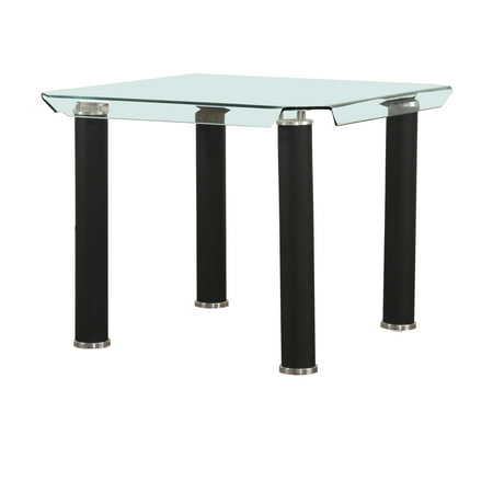 ACME Gordias Counter Height Glass Table with Black Metal Base Base Counter Table