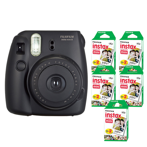 FujiFilm Instax Mini 8 Fuji Instant Film Camera Black + 100 SHeets Instant Film by Fujifilm