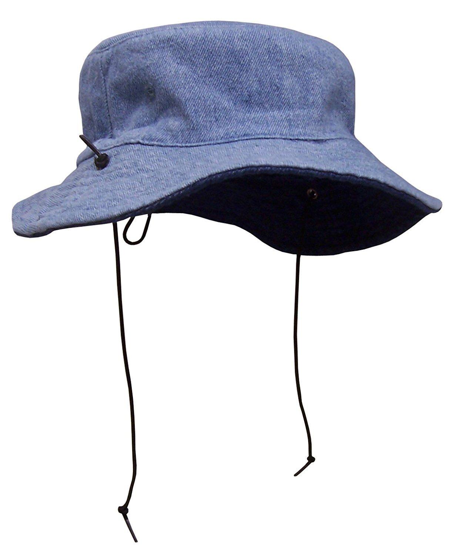 NICE CAPS Kids Distressed Denim Reversible and Adjustable Sun Hat