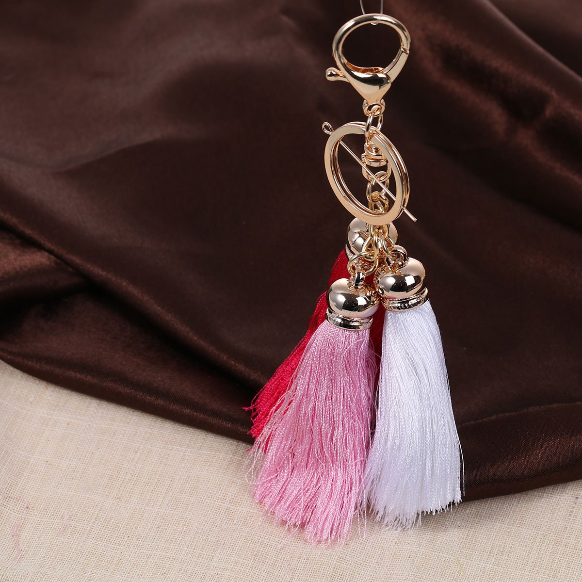 Sexy Sparkles Key Chains Key Rings Lobster Clasp With Multi color Rayon Tassel