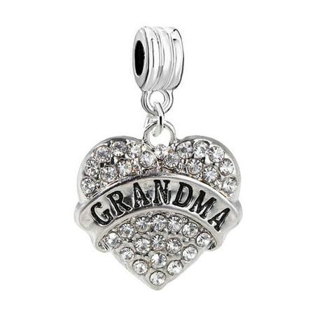 Grandma Heart Charm W/Clear Rhinestones Dangling Spacer European Charm Bracelet and Necklace (Rabbit Head Rhinestone Charm)