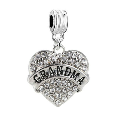 Special Grandma Heart Charm (Grandma Heart Charm W/Clear Rhinestones Dangling Spacer European Charm Bracelet and Necklace)