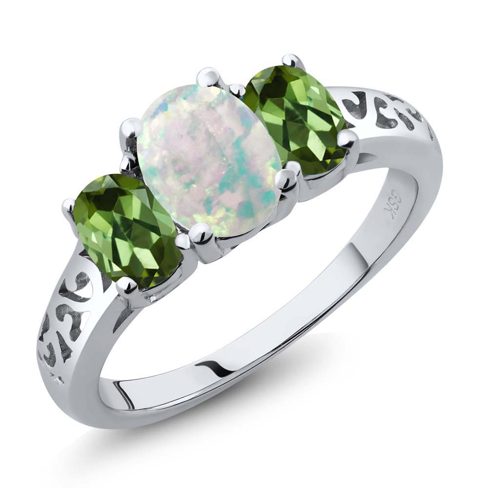 2.05 Ct Oval Cabochon White Simulated Opal Green Tourmaline 18K White Gold Ring by
