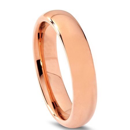 Tungsten Wedding Band Ring 5mm for Men Women Comfort Fit 18K Rose Gold Plated Plated Domed Polished Lifetime Guarantee - image 1 de 5