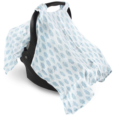 Hudson Baby Boy and Girl Muslin Car Seat Canopy Cover - Blue Clouds (Cheetah Baby Car Seat Covers)