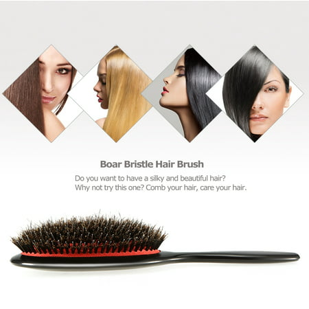 Boar Bristle & Nylon Hair Brush Oval Anti-static Paddle Comb Scalp Massage Hair Care Tool (Boar Hair Brush Small)