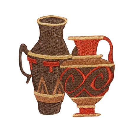 ID 3093 Clay Pots Patch Pottery Water Jug Vase Embroidered Iron On (Clay Water Vase)