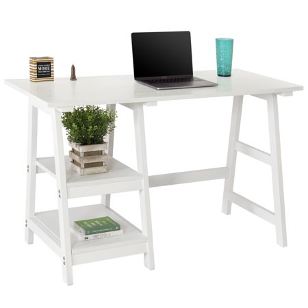 Best Choice Products Wooden Modern Computer Writing Trestle Desk for Home, Office, Study,