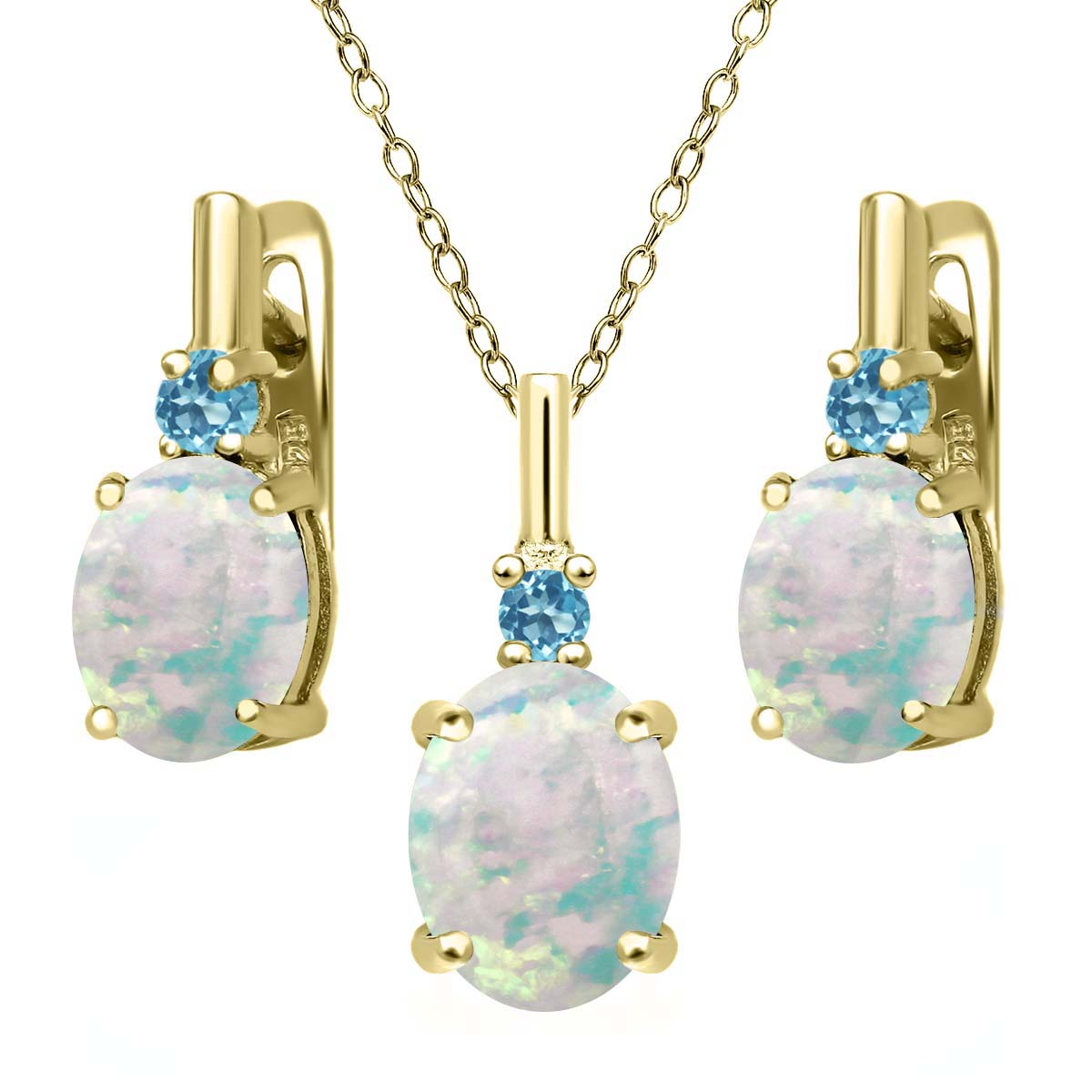 4.88ct Simulated Opal Simulated Topaz 18K Yellow Gold Plated Silver Jewelry Set by
