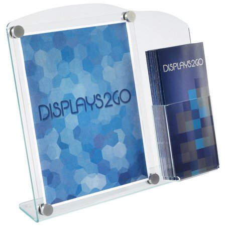 Acrylic Sign Frame with Brochure Holder, Displays 8.5x11 Graphics, Literature Pocket for 4x9 Pamphlets, Slant Back Sign Stand for Tabletop Use (MDS8511) (Clear Acrylic Tabletop Stand)
