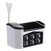 Kitchen Storage Box Tableware Cutlery Condiment Organizer Knives Blocks Holder - White / Red