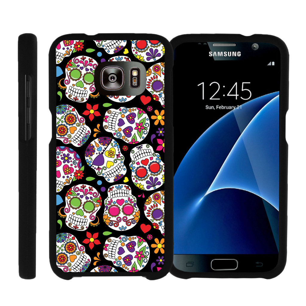 Samsung Galaxy S7 G930, [SNAP SHELL][Matte Black] 2 Piece Snap On Rubberized Hard Plastic Cell Phone Cover with Cool Designs - Sugar Skull Design