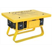 Voltec 09-00375 Locking Temporary Power Box With 3 GFCI - 50 AMP, Yellow, Case Of 1