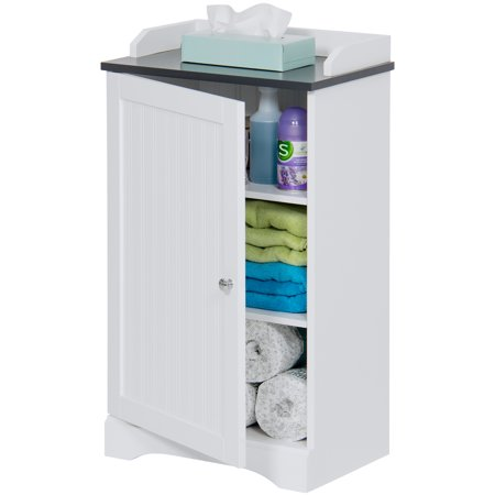 - Best Choice Products Modern Contemporary Home Bathroom Floor Storage Organization Cabinet for Linens, Toiletries, Towels, Soap w/ 1 Bottom Shelf, 2 Adjusting Shelves, Versatile Door - White