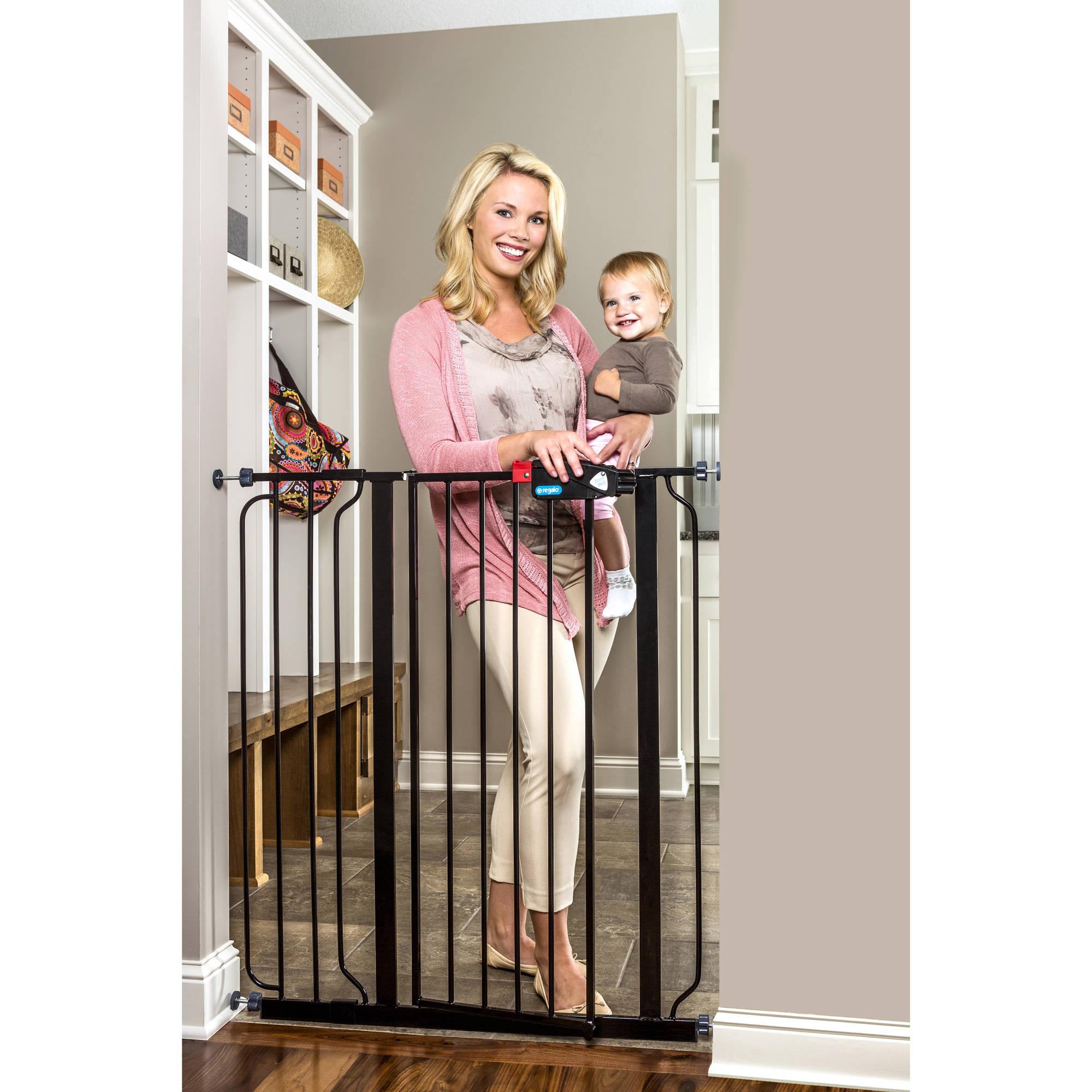 "Regalo Extra Tall Black Baby Gate, 29""-40"" with Walk Through Door"